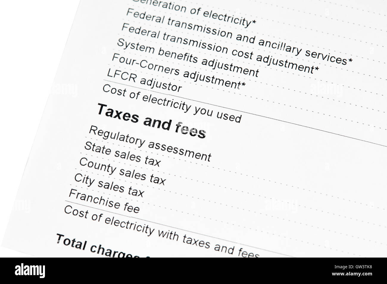 Taxes and Fees on a residential electric bill - Stock Image