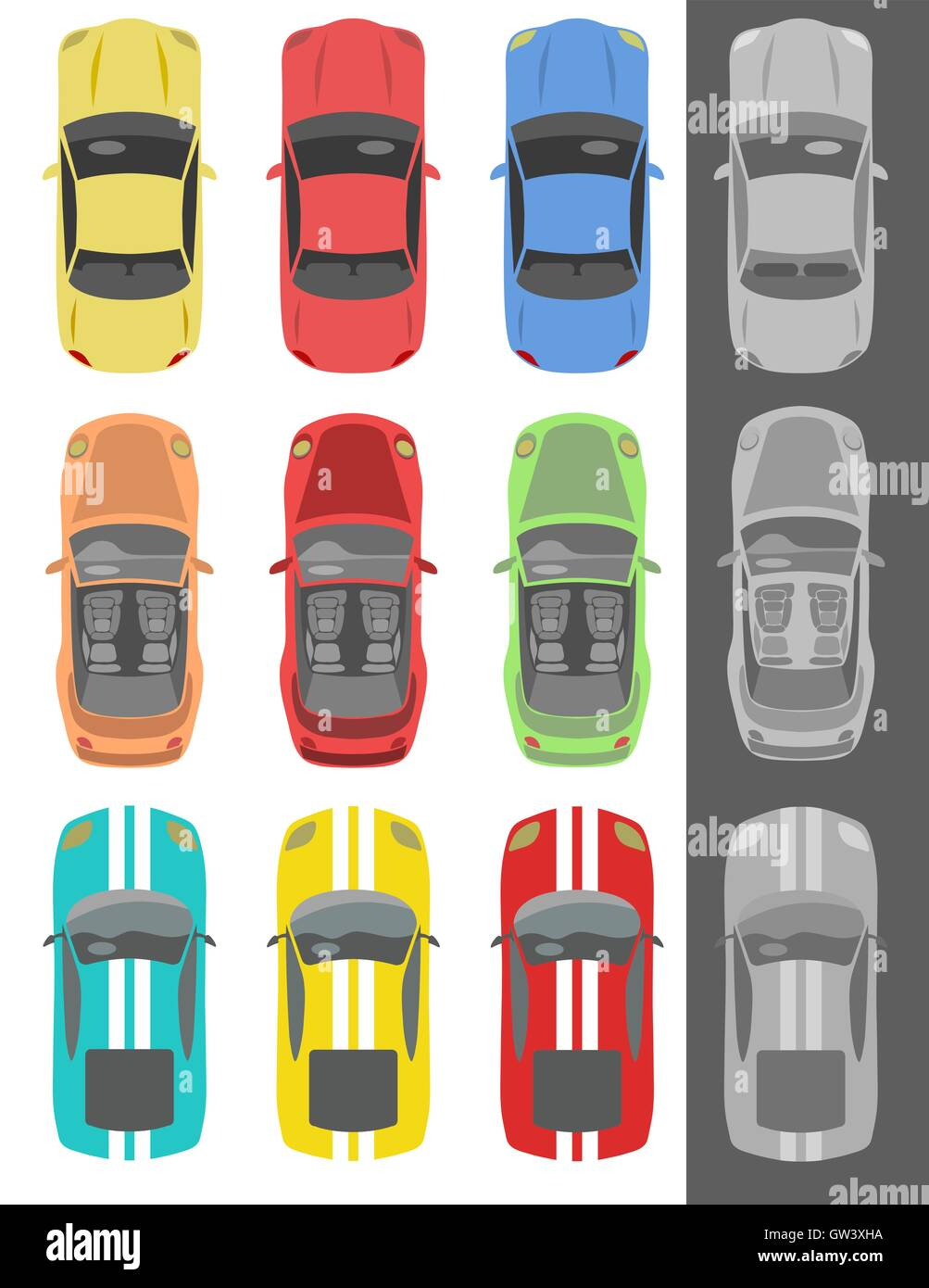 Collection of various isolated cars icons - Stock Vector