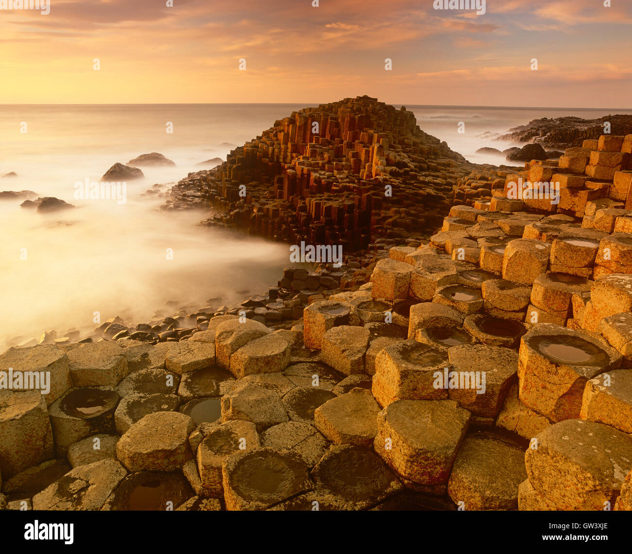 Giants Causeway at sunset, Antrim coast, County Antrim, Northern Ireland, UK - Stock Image
