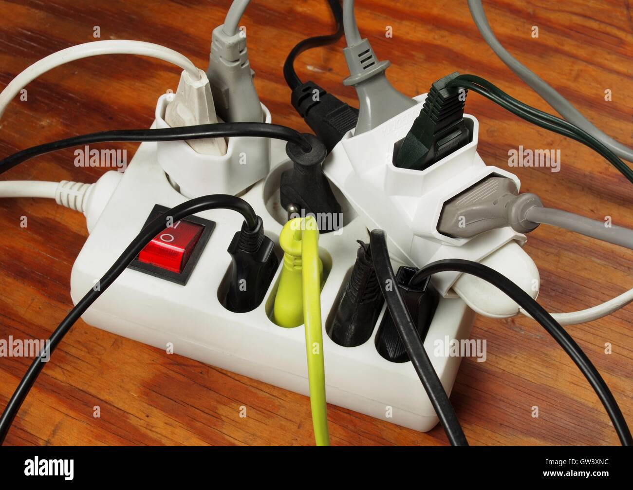 Plug Sockets Overload Stock Photos Wiring Shed Extension Cord Overloaded