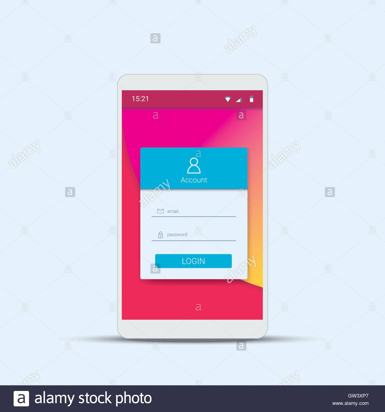 mobile login menu template with modern material design for