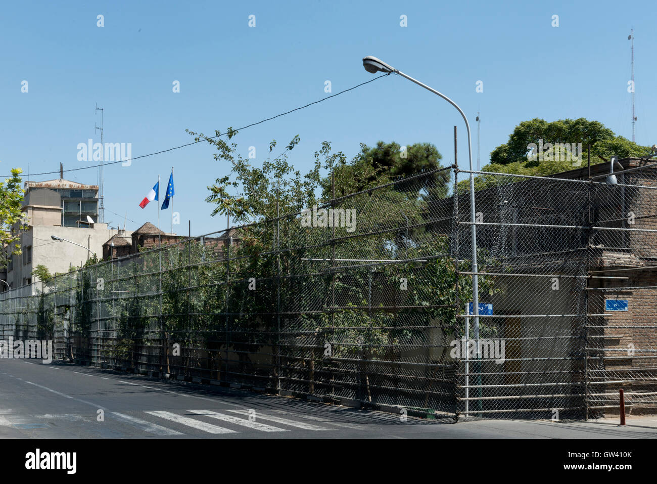 Tehran, Neauphle-le-Château Street, The French Embassy Fenced For Protection Against Terrorist Attacks Since - Stock Image
