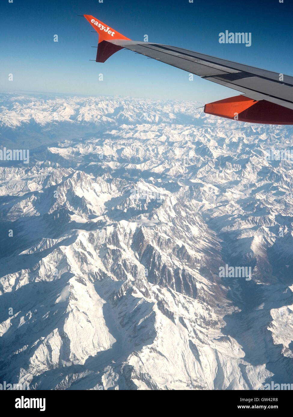 AJAXNETPHOTO. 2015. AIRBORNE, EUROPE. - AIRCRAFT DESIGN - WINGLETS ON THE TIP OF PORT WING OF AN EASY JET PASSENGER - Stock Image