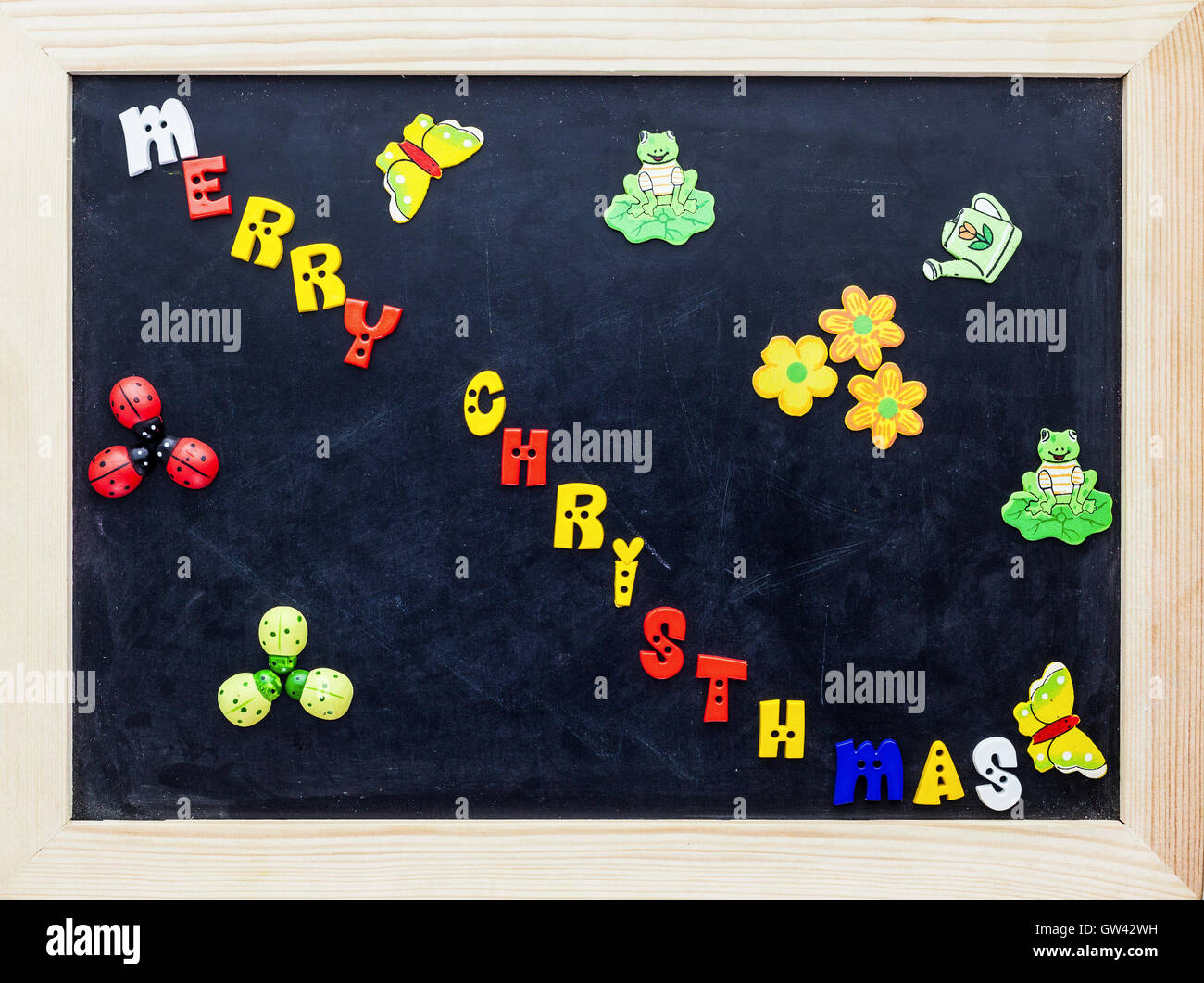 color merry christmas words on black board stock image - Merry Christmas In Greek Language