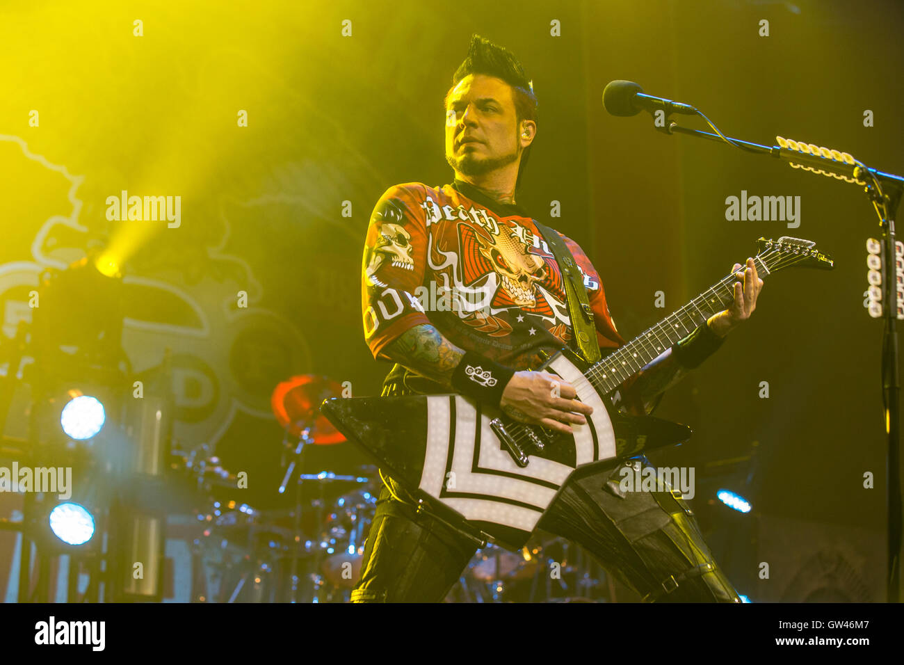 Jason Hook, guitarist of Five Finger Death Punch at Abbotsford Centre in Abbotsford, Canada on September 9th 2016 - Stock Image
