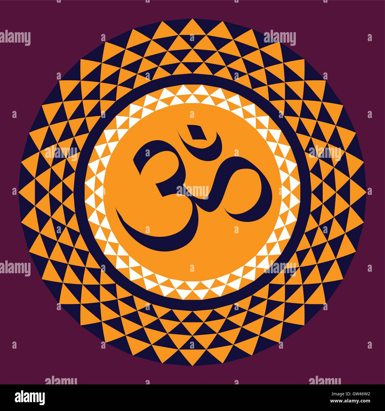 OM in the thousand petal lotus; a sacred symbol in the Hinduism and Buddhism. - Stock Vector