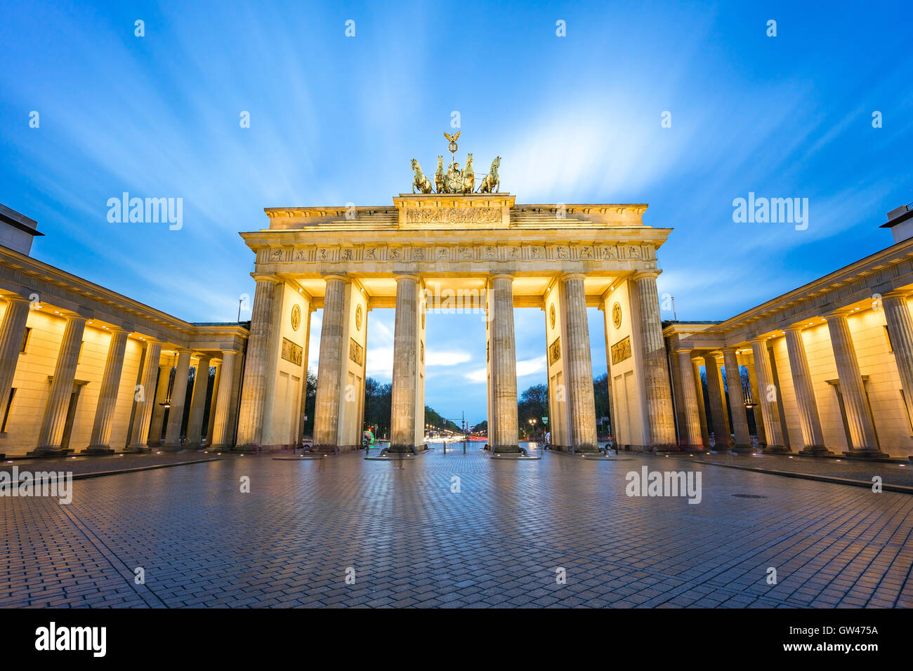 The long exposure view of Brandenburger Tor in Berlin, Germany. - Stock Image