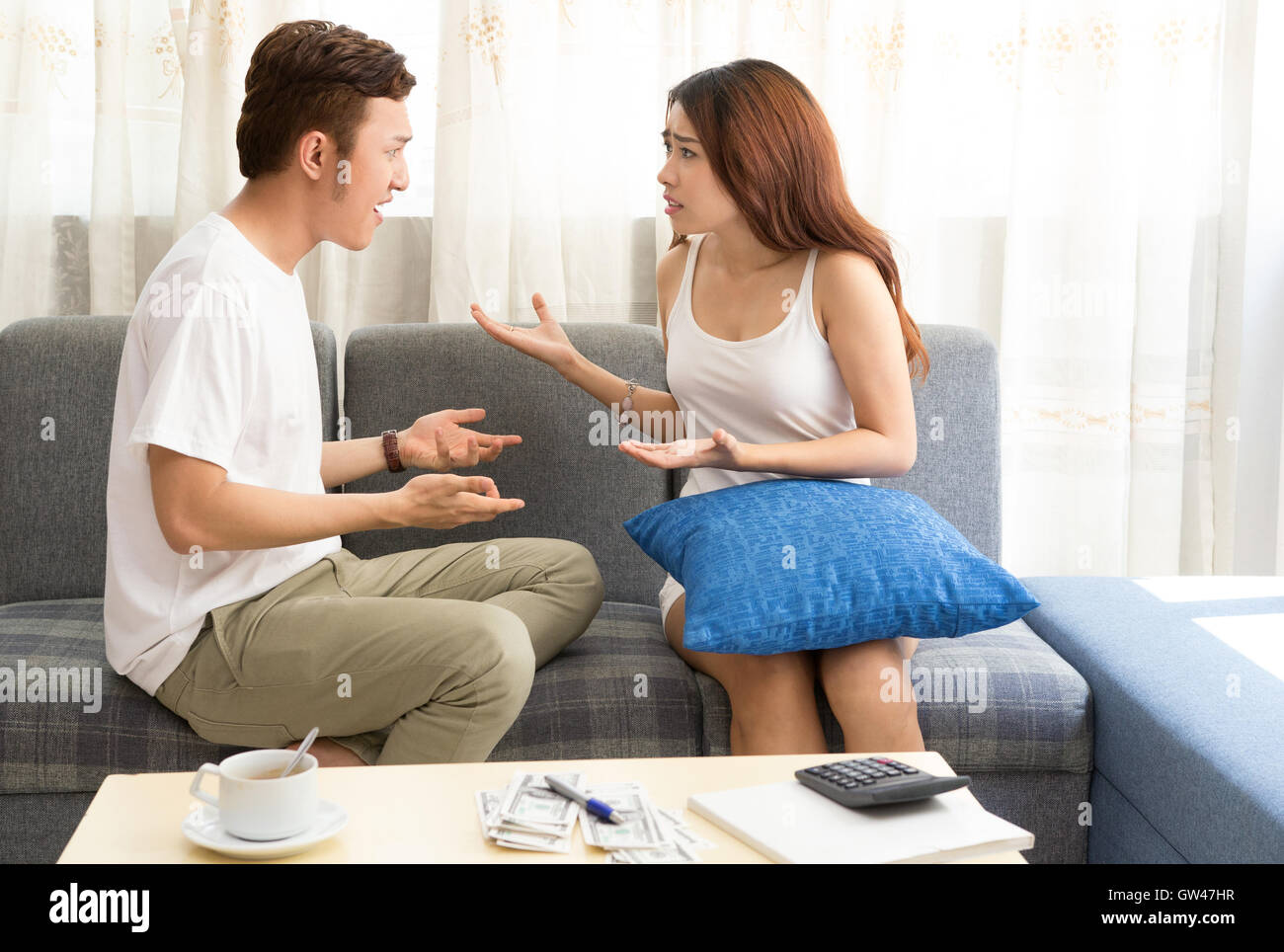 Young Asian couple angry - Stock Image
