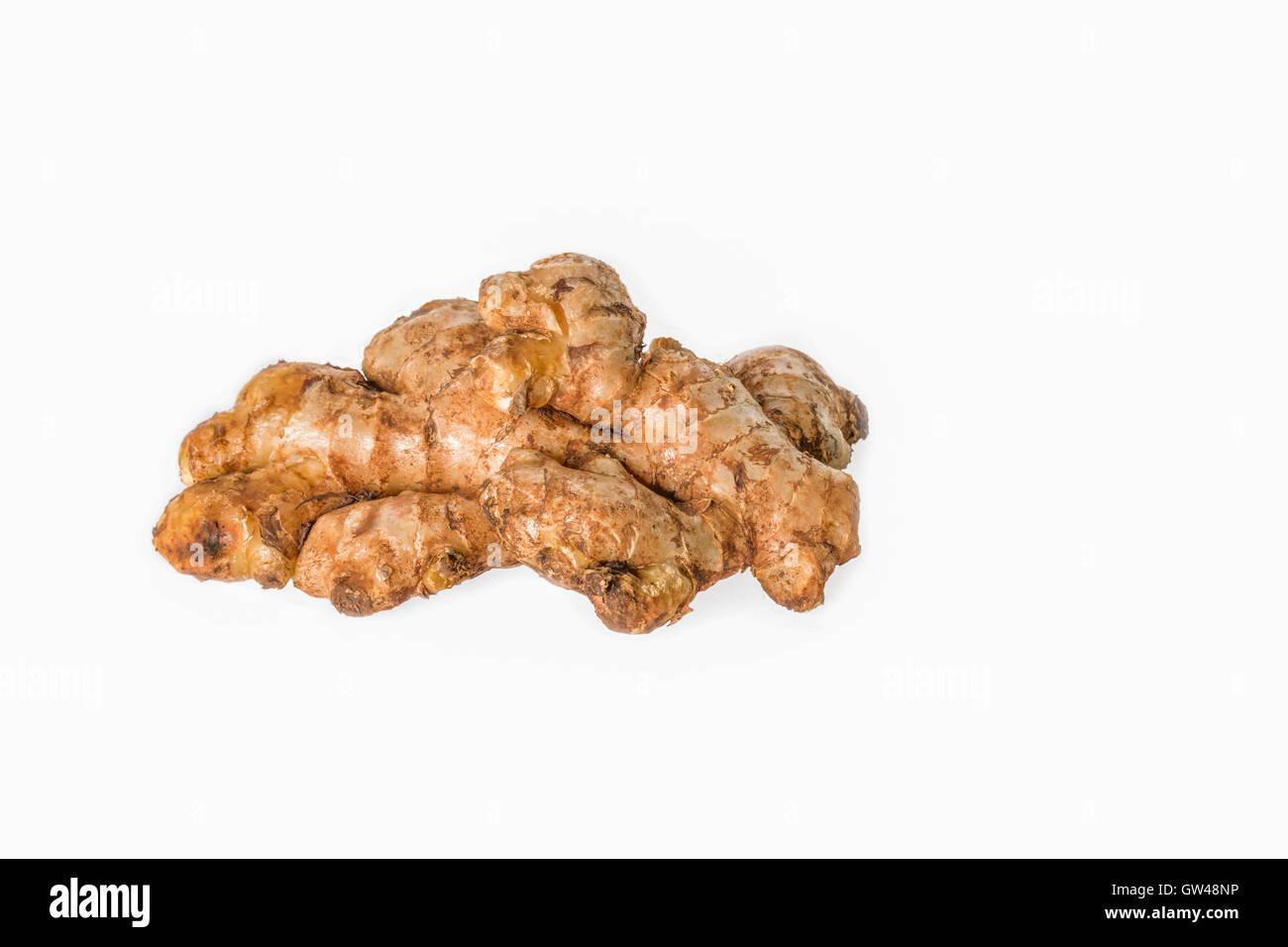 Fresh Ginger rhizome on a white background - Stock Image