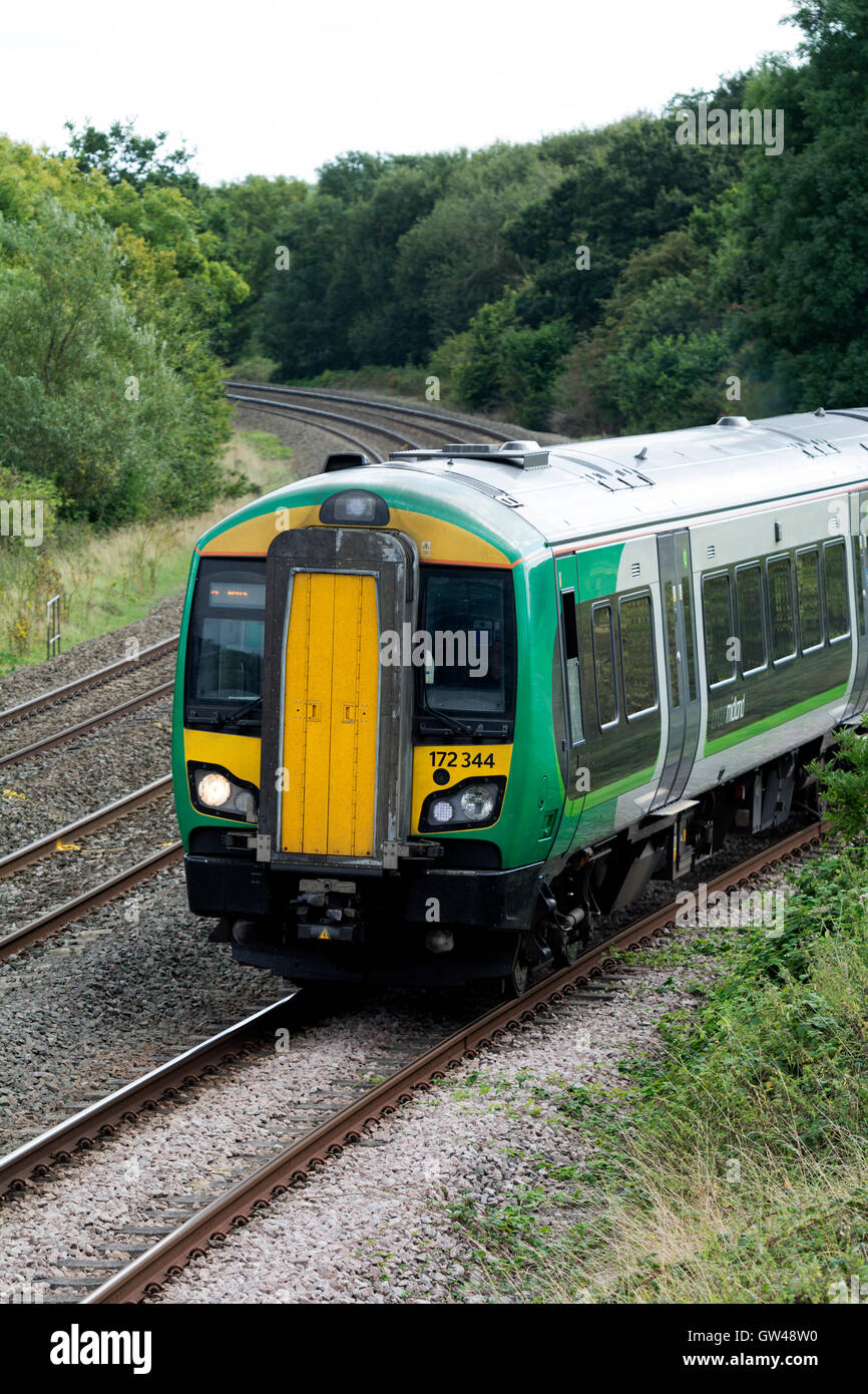 London Midland class 172 diesel train at Hatton North Junction, Warwickshire, UK - Stock Image