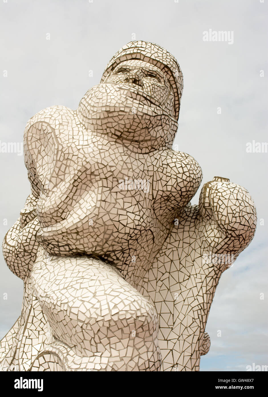 Mosaic tiled memorial sculpture of adventurer Captain Scott of the Antarctic at Cardiff Bay, Wales, UK unveiled - Stock Image