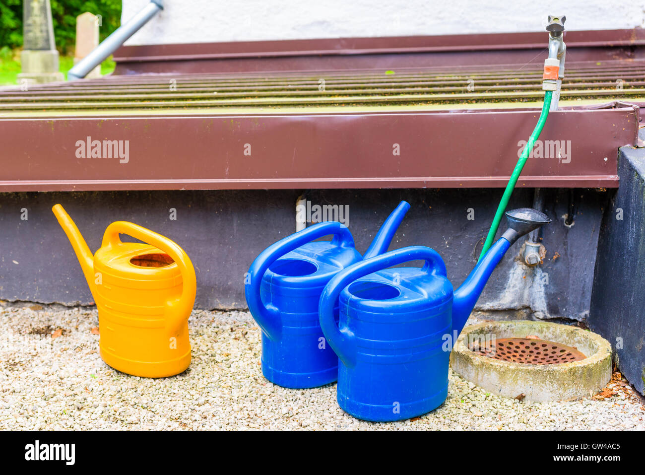 Three plastic watering cans and a garden hose. Stock Photo