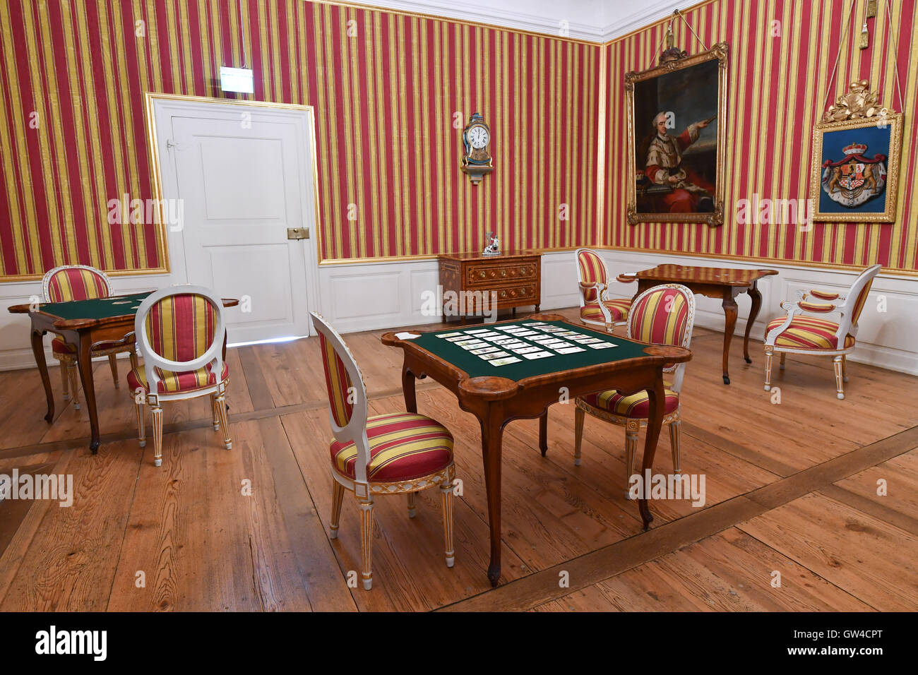 Schwetzingen, Germany. 9th Sep, 2016. View into the playroom of Schwetzingen Palace in Schwetzingen, Germany, 9 - Stock Image