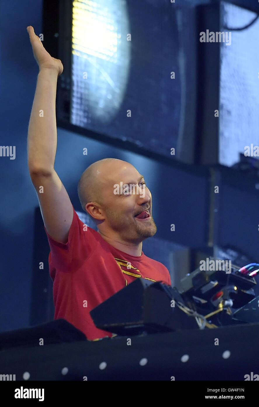 Berlin, Germany. 10th Sep, 2016. Paul Kalkbrenner performing at the music festival Lollapalooza in Berlin, Germany, - Stock Image