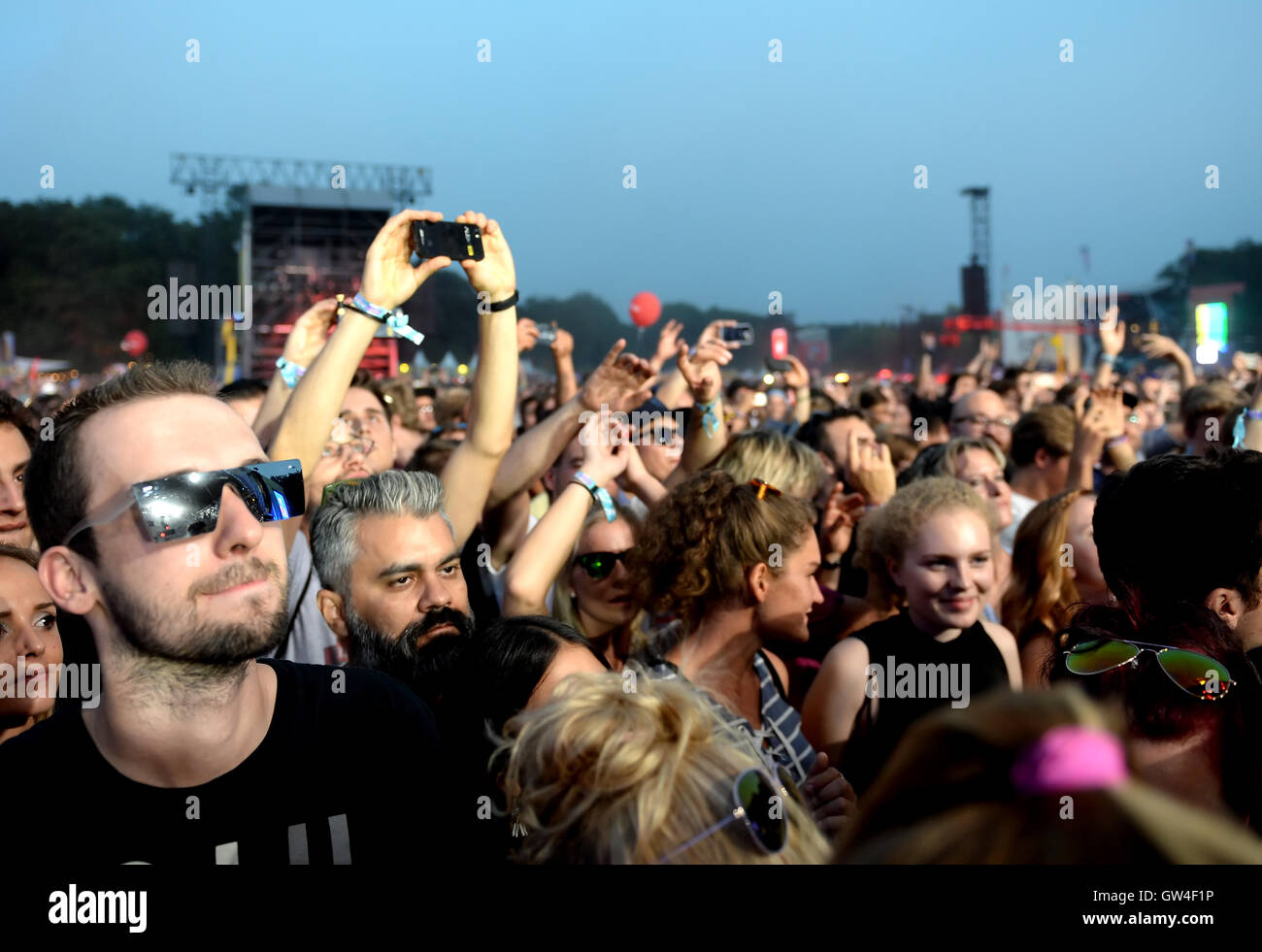 Berlin, Germany. 10th Sep, 2016. People celebrating during the performance of Paul Kalkbrenner at the music festival - Stock Image