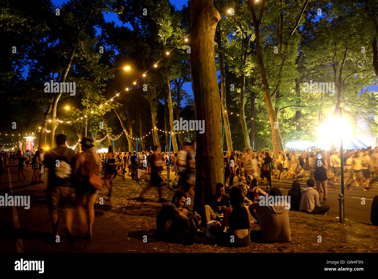 Berlin, Germany. 10th Sep, 2016. Visitors walking on the grounds of the music festival Lollapalooza in Berlin, Germany, - Stock Image