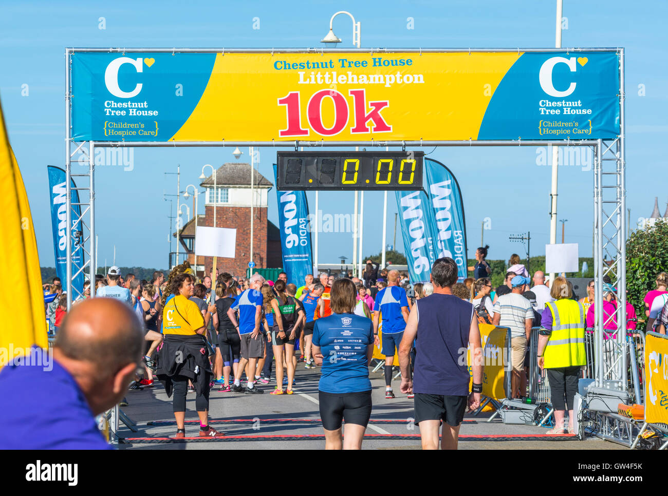 Before the race begins at the Chestnut Tree House 10k charity run in 2016 in Littlehampton, West Sussex, England, - Stock Image