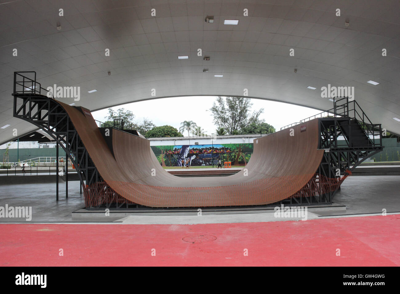 Rio de Janeiro, Brazil, 10 September, 2016: Madureira Park holds the world's largest public half pipe skate park, Stock Photo