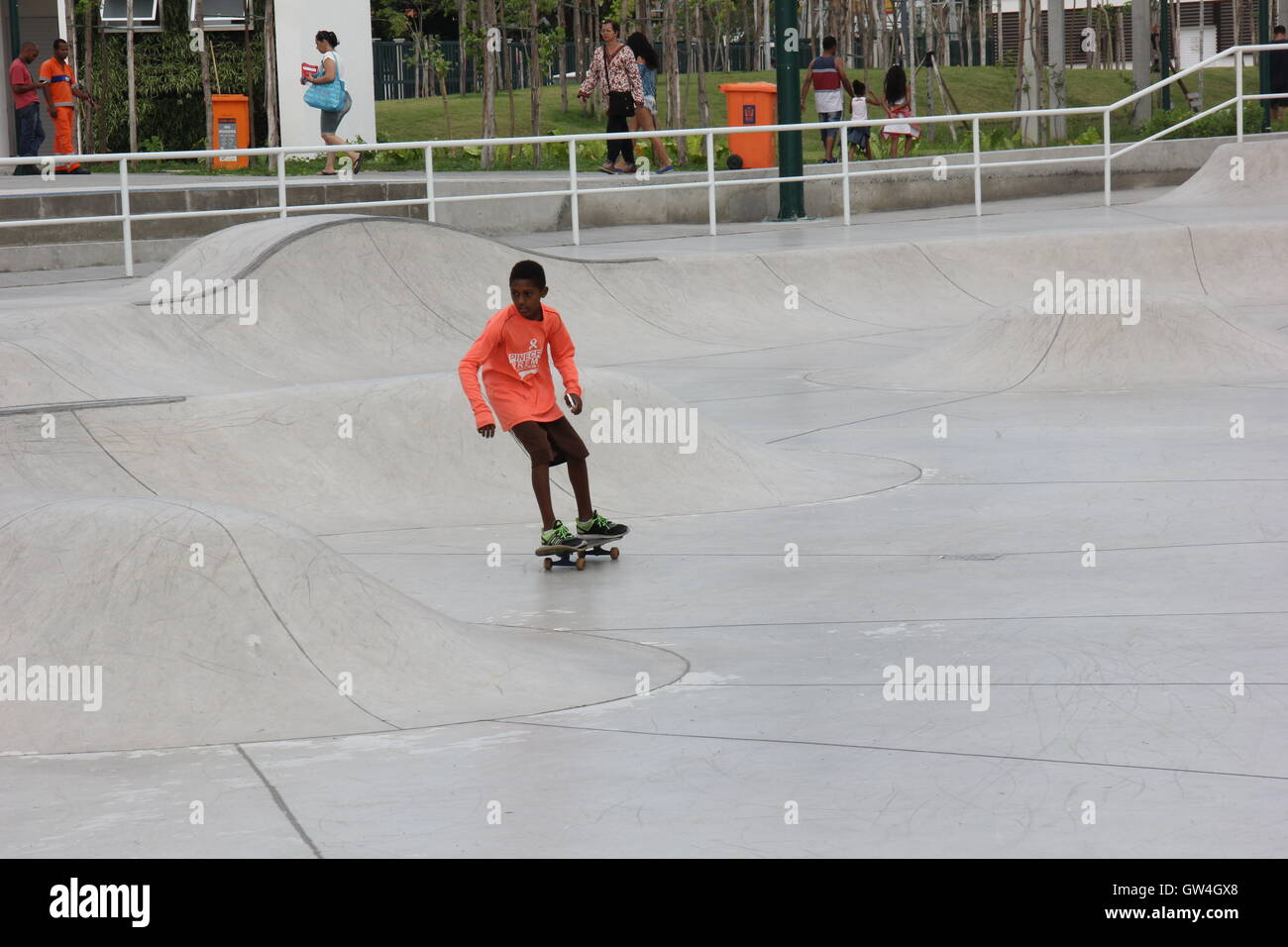 Rio de Janeiro, Brazil, 10 September, 2016: Madureira Park holds the world's largest public half pipe skate park, Stock Photo