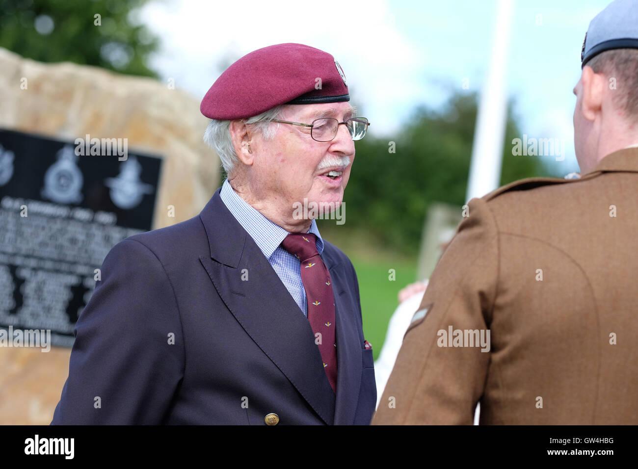 Shobdon airfield, Herefordshire, UK - Sunday 11th September 2016 - Lt Col R.W.G 'Nick' Nicholls of the Glider - Stock Image