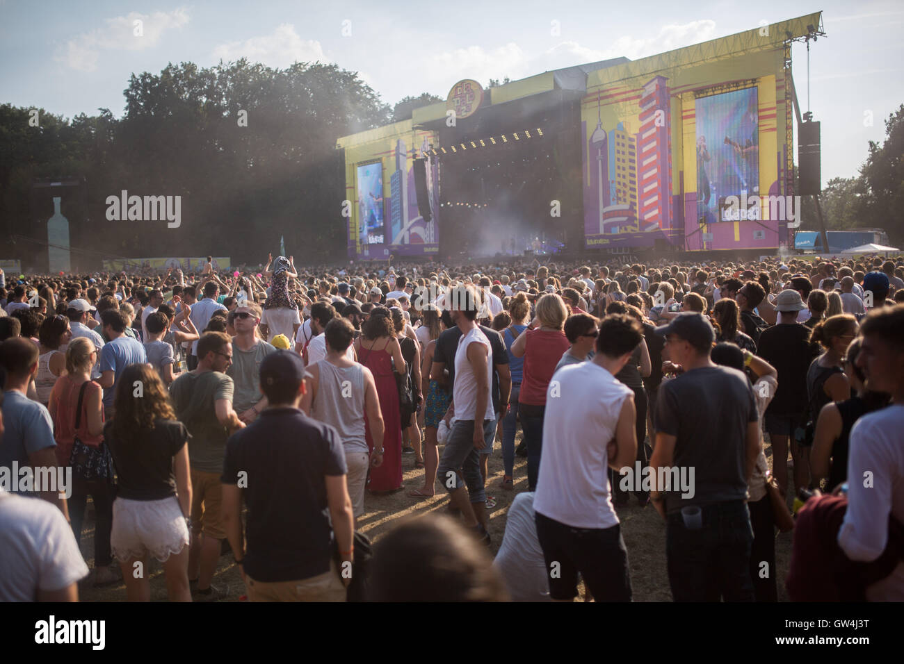 Visitors at the mainstage of the Lollapalooza festival in Berlin, Germany, 11 September 2016. PHOTO: SOPHIA KEMBOWSKI/dpa - Stock Image