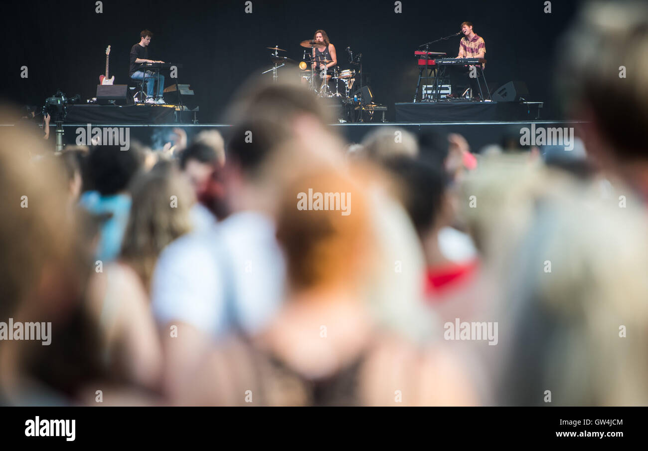 Visitors following a performance of James Blake at the mainstage of the Lollapalooza festival in Berlin, Germany, - Stock Image