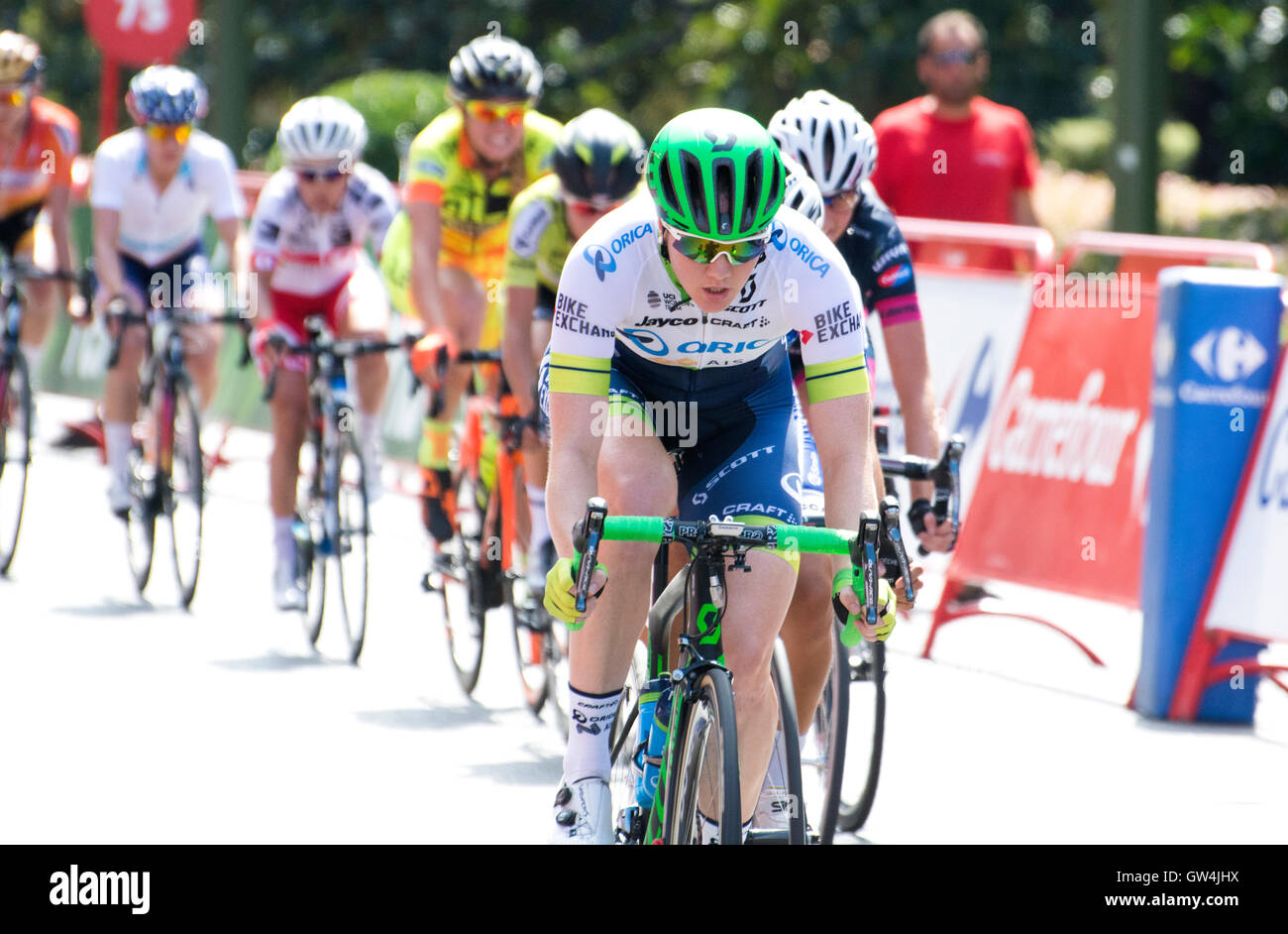Madrid, Spain. 11th September, 2016. A cyclist of 'Orica-AIS' during the one-day race of UCI Women's World Tour Stock Photo