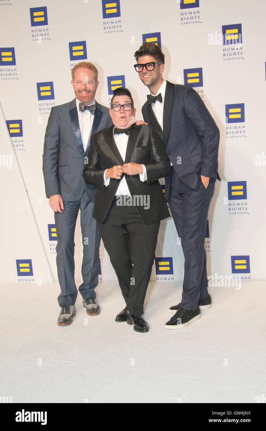 Washington, USA. 10th Sep, 2016.  Lea DeLaria, Jessie Tyler Fergunson and Justin Matika attends the 20th Annual - Stock Image