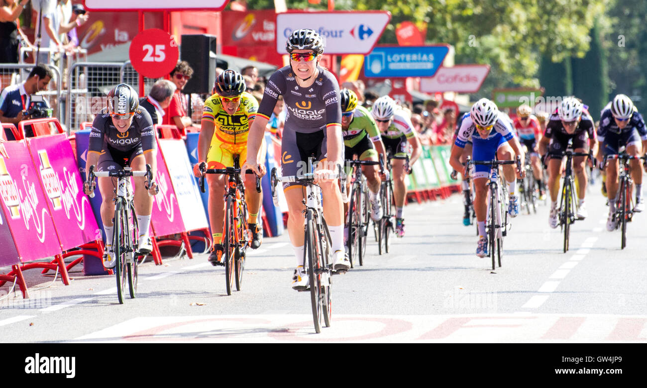 Madrid, Spain. 11th September, 2016. Mia Radotic (Wiggle High5) wins the one-day race of UCI Women's World Tour Stock Photo