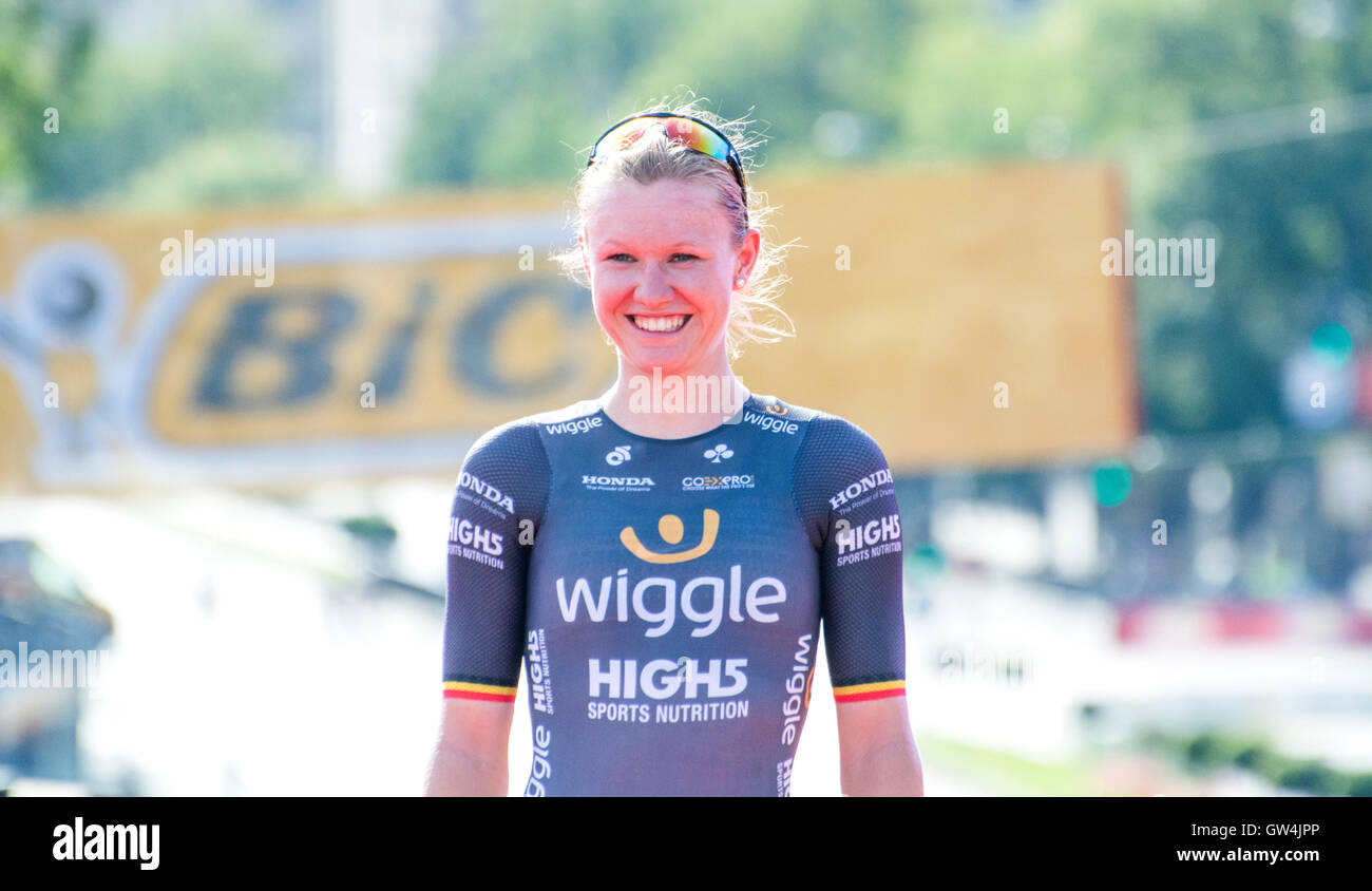 Madrid, Spain. 11th September, 2016. Mia Radotic (Wiggle High5) at the podium of the one-day race of UCI Women's Stock Photo