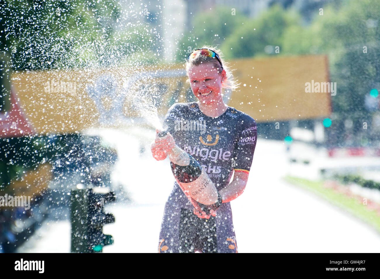 Madrid, Spain. 11th September, 2016. Mia Radotic (Wiggle High5) celebrates her victory at the podium of the one Stock Photo
