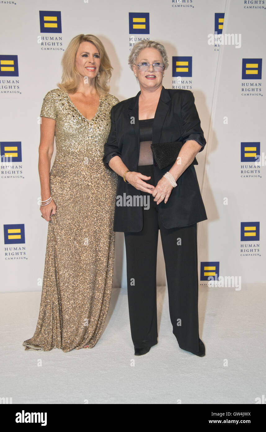 Washington DC,September 10, 2016, USA:  Actors Zippy Allen and Sharon Gless, attends the 20th Annual Human Rights Stock Photo