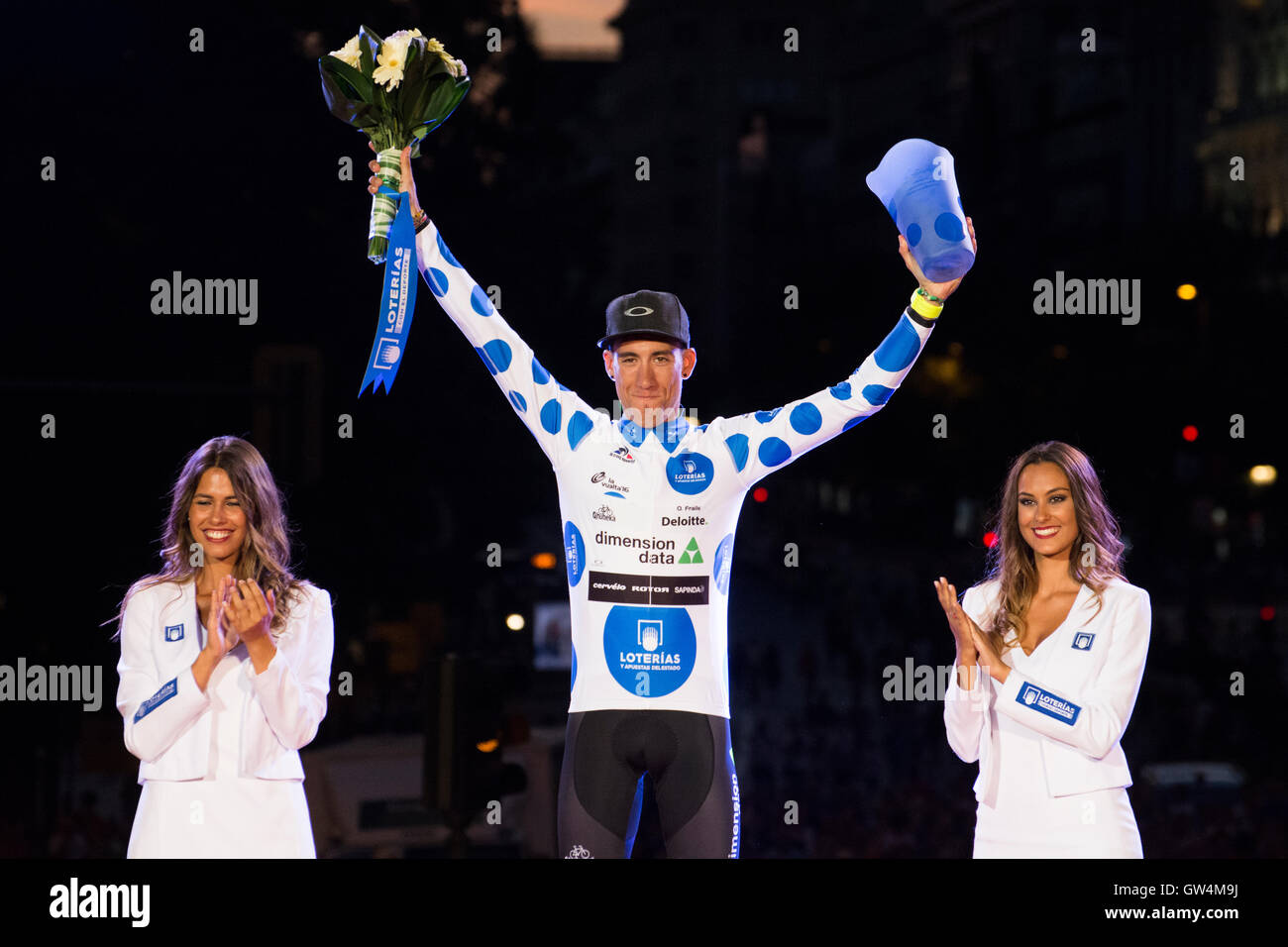 Madrid, Spain. 11th September, 2016. Omar Fraile like winner of Mountain at final podium of 21st stage of cycling - Stock Image
