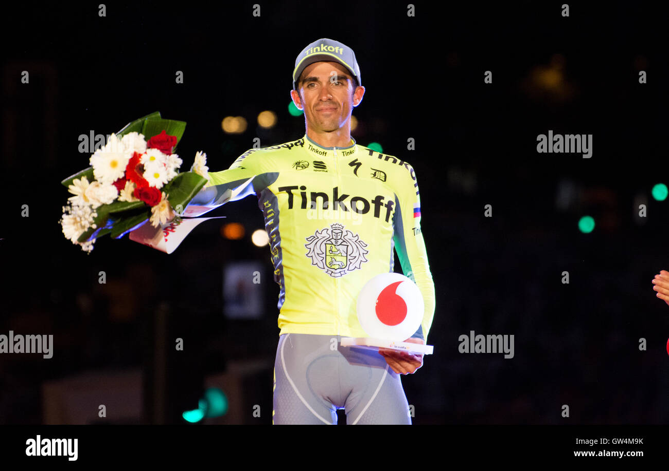Madrid, Spain. 11th September, 2016. Alberto Contador like most combative at final podium of 21st stage of cycling - Stock Image