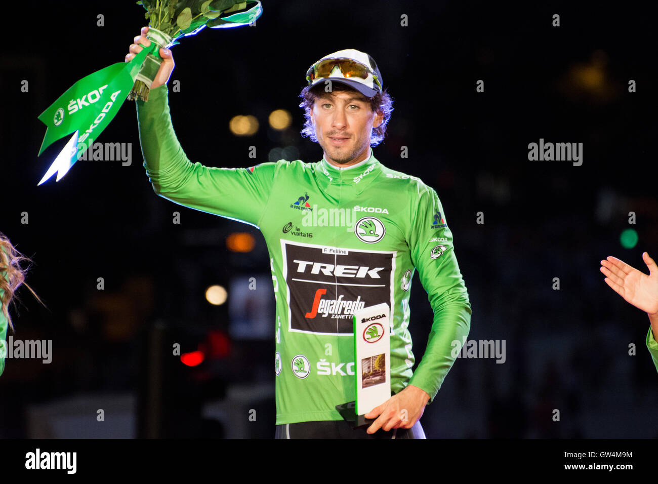 Madrid, Spain. 11th September, 2016. Fabio Fellini like winner of Points at final podium of 21st stage of cycling - Stock Image