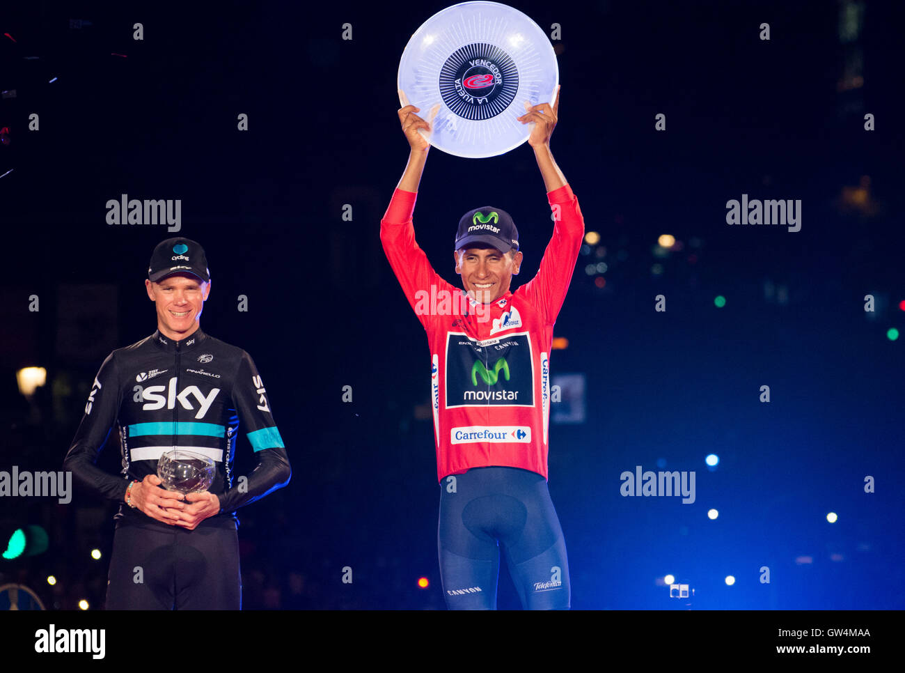 Madrid, Spain. 11th September, 2016. Chris Froome (2nd), Nairo Quintana (1st) at final podium of the 21st stage - Stock Image