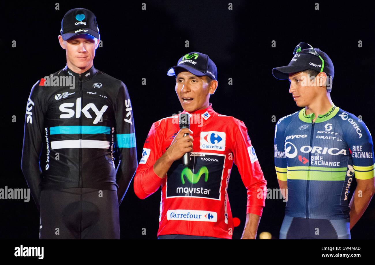 Madrid, Spain. 11th September, 2016. Chris Froome (2nd), Nairo Quintana (1st) and Esteban Chaves (3rd) at final - Stock Image