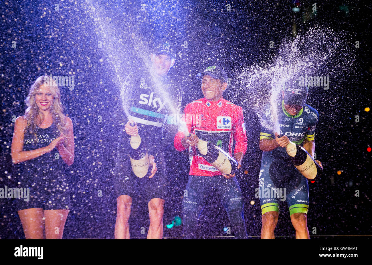 Madrid, Spain. 11th September, 2016. Chris Froome (2nd), Nairo Quintana (1st) and Esteban Chaves (3rd) celebrate - Stock Image
