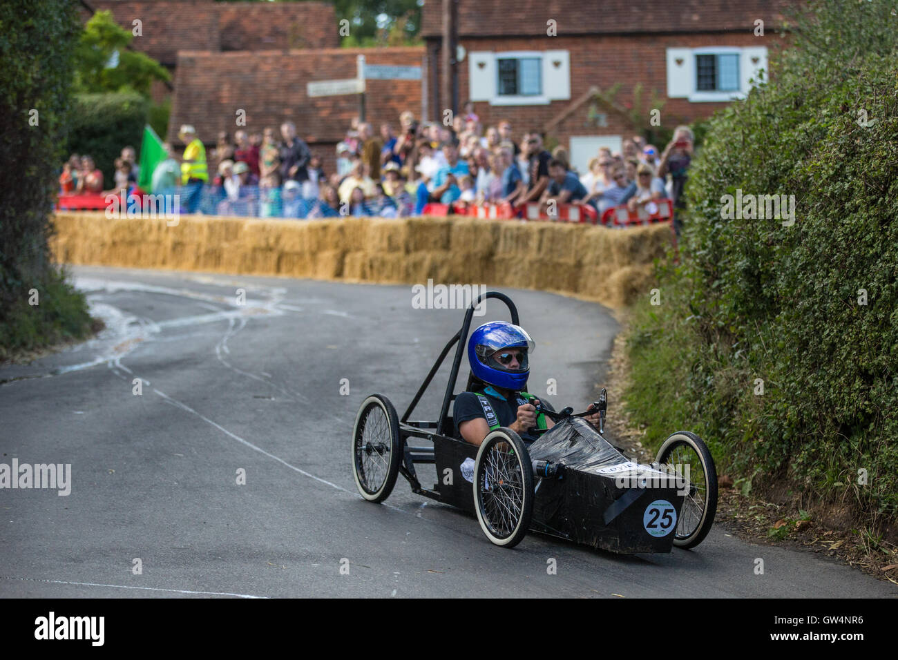 Cookham Dean, UK. 11th Sep, 2016. A custom-built go-kart competes in the Cookham Dean Gravity Grand Prix in aid - Stock Image