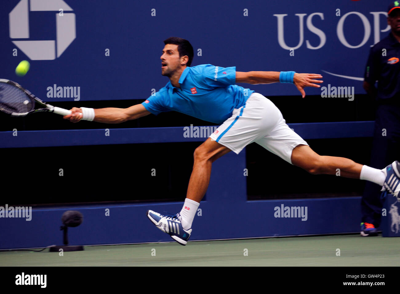 New York, United States. 11th Sep, 2016. Novak Djokovic scrambles for a forehand during the United States Open Tennis - Stock Image