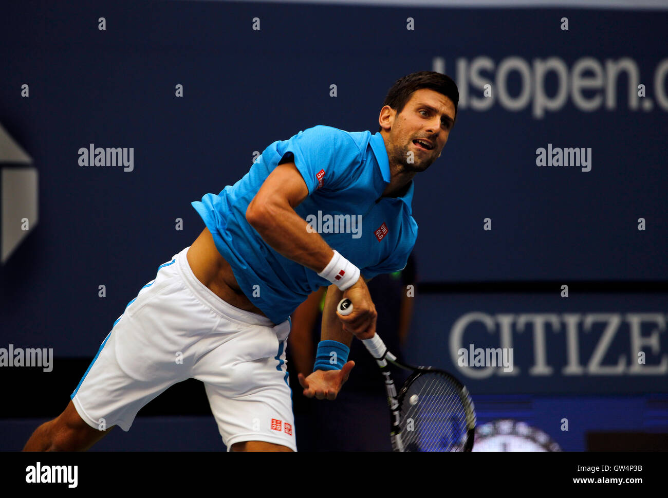 New York, United States. 11th Sep, 2016. Novak Djokovic serving during the United States Open Tennis Championships - Stock Image