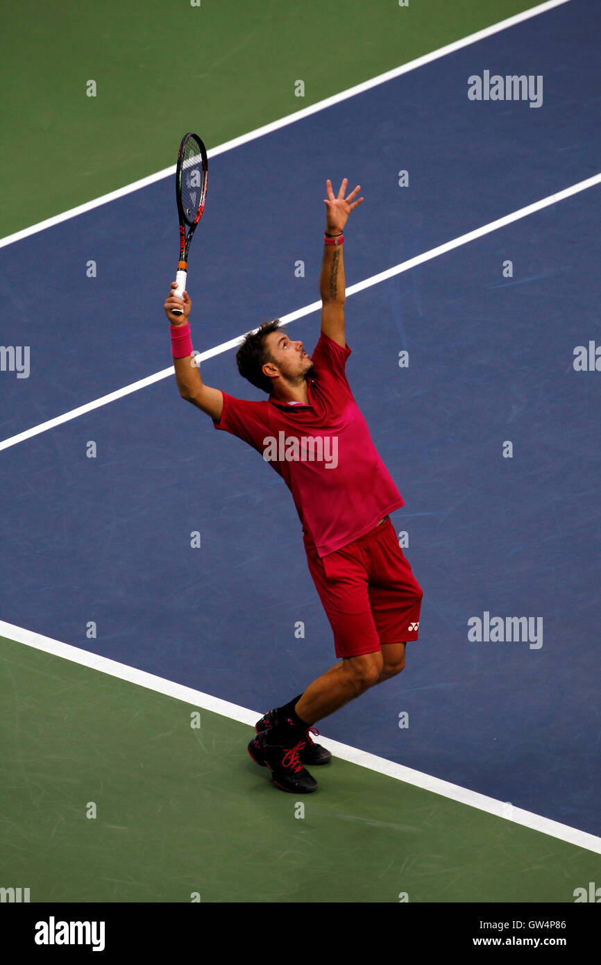 New York, United States. 11th Sep, 2016. Switzerland's Stan Warwinka serving during the United States Open Tennis - Stock Image