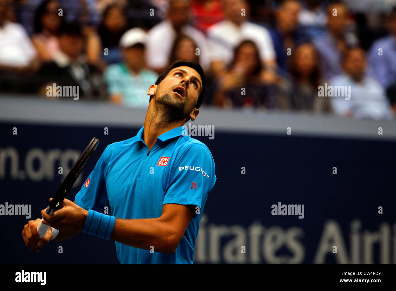 New York, United States. 11th Sep, 2016. Novak Djokovic sets up an overhead during the United States Open Tennis - Stock Image