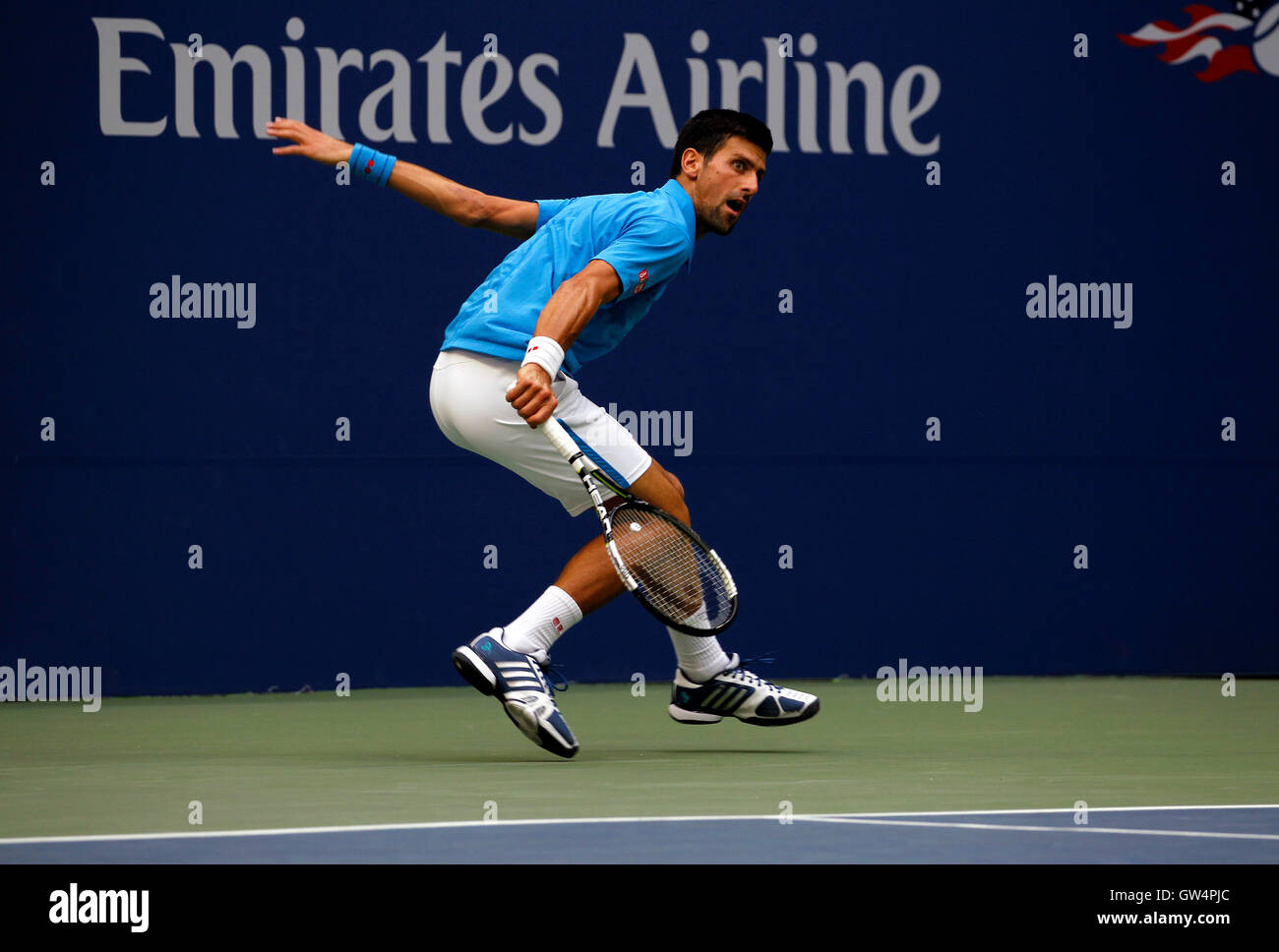New York, United States. 11th Sep, 2016. Novak Djokovic follows a backhand return during the United States Open - Stock Image
