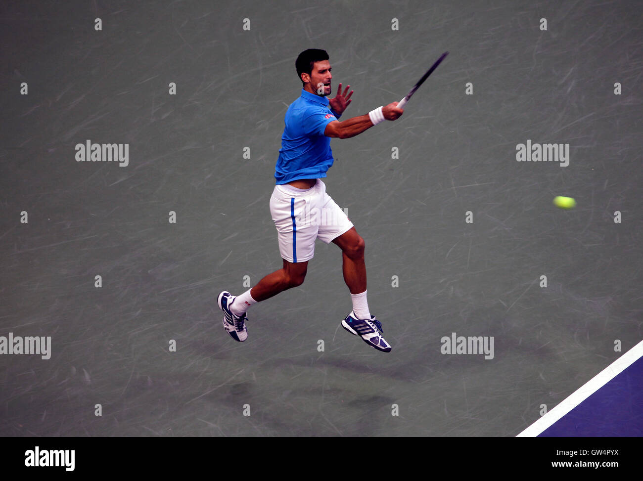 New York, United States. 11th Sep, 2016. Novak Djokovic strikes a forehand during the United States Open Tennis - Stock Image