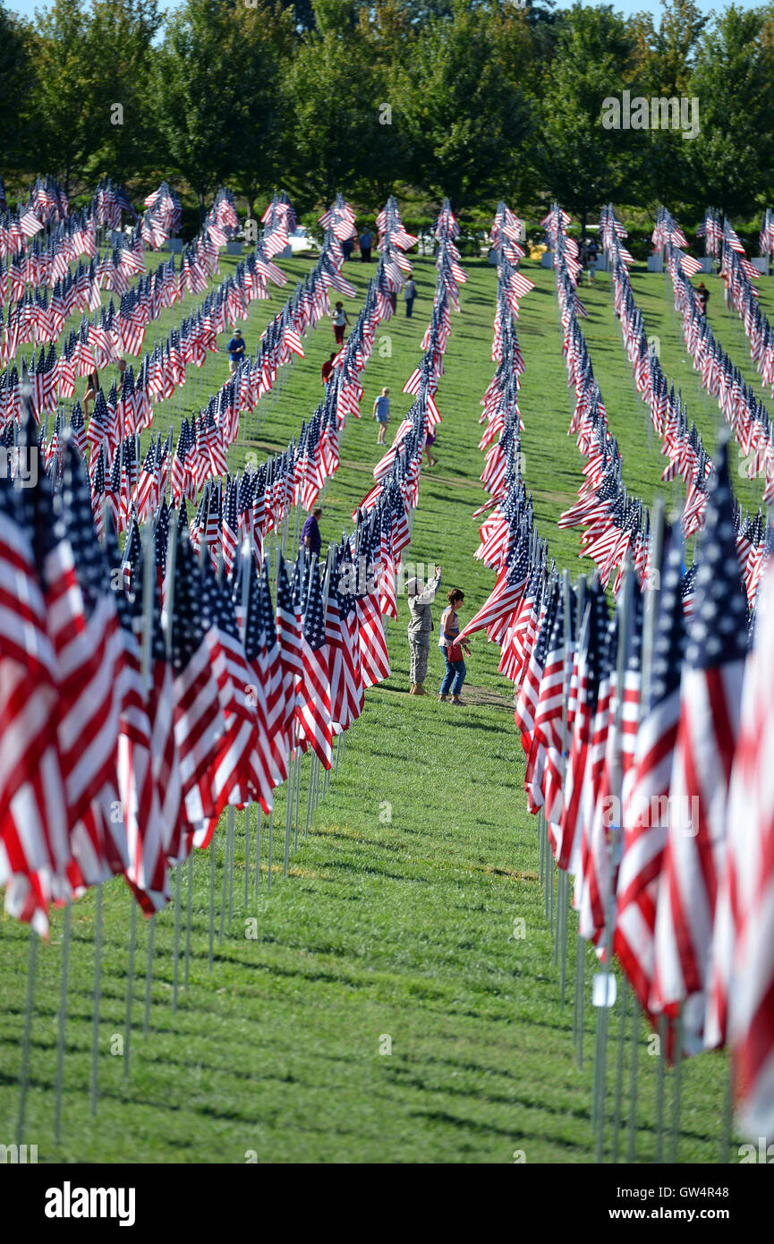 Saint Louis, MO – September 11, 2016: More than 7,000 flags with name, photo and dog tag of soldier killed defending the United States wave outside the St. Louis Art Museum in Saint Louis, Missouri Credit:  Gino's Premium Images/Alamy Live News Stock Photo