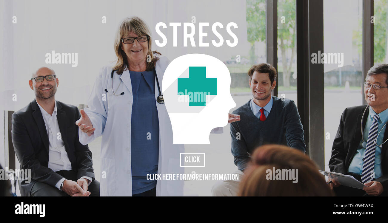 Stress Depression Exhaustion Frustration Panic Concept - Stock Image