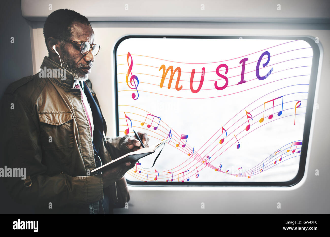 Music Note Art of Sound Instrumental Concept - Stock Image