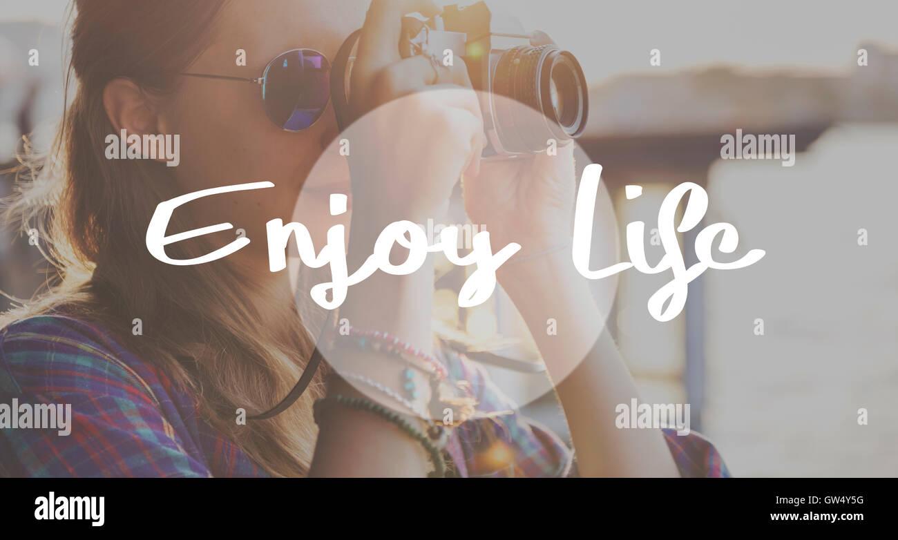 Enjoy Life Pleasure Satisfaction Happiness Concept - Stock Image
