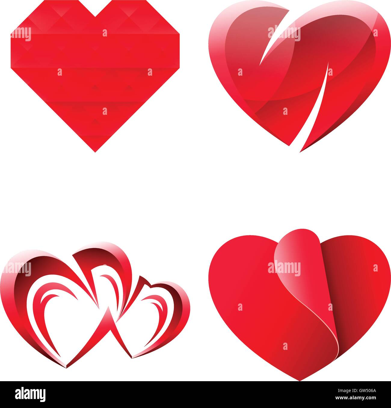 Vector Icon Design Miscellaneous Sweet Romantic Heart Symbols Set